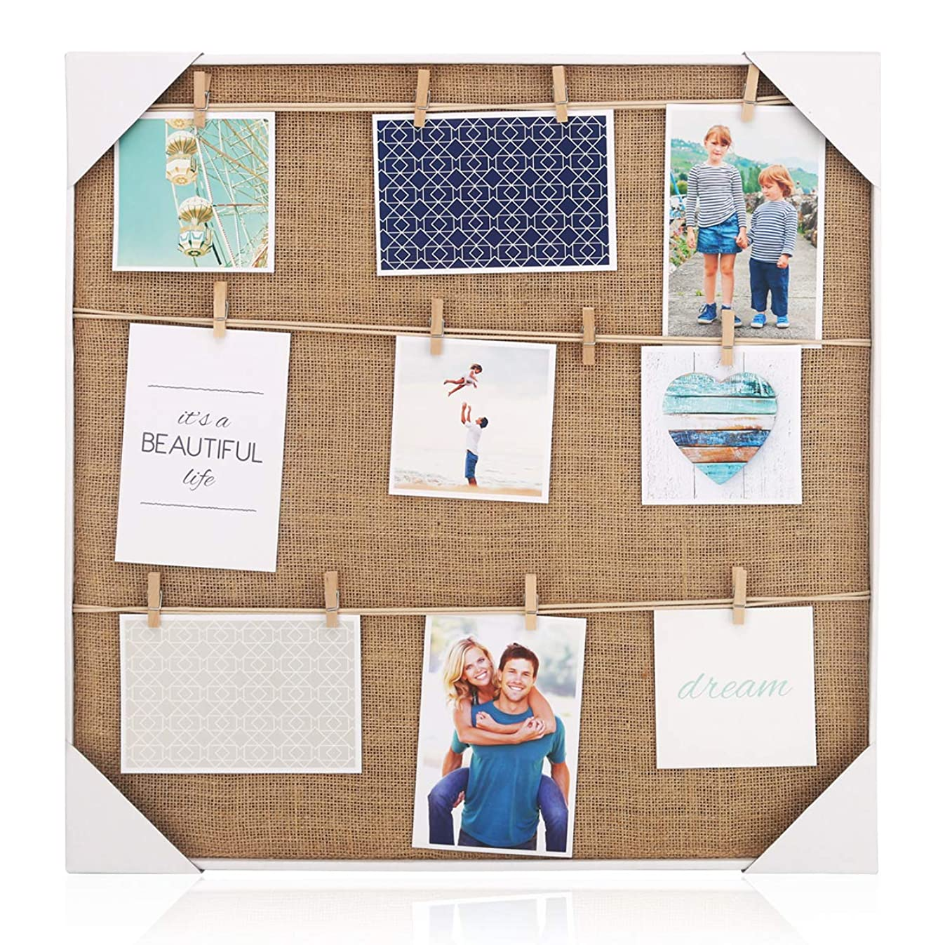 HANTAJANSS Photo Frames with Clip of 12 Pictures Display Show The Sweetest for Home Decoration 20 × 20 inches