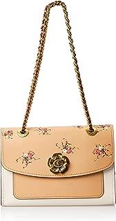 1941 Parker Floral-Print Leather Shoulder Bag Beechwood Camel Beige Brown Handbag New