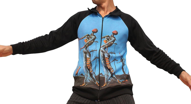 Raan Pah Muang RaanPahMuang Salvadore Dali  Burning Giraffe  Black Sleeve Windbreaker