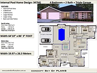 4 Bedroom House Plan with Internal Pool and Triple Garage - Concept House Plans: Concept plan includes detailed floor plan and elevation plans