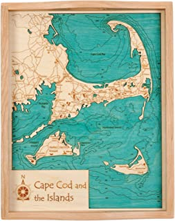 Higgins Lake - Roscommon County - MI - 2D Serving Tray 14 x 18 in - Laser Carved Wood Nautical Chart and Topographic Depth map.