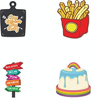Bhai Please Fries, Travel Board(India), Vanilla Cake and My Kitchen My Rules Wooden Fridge Magnet (Pack of 4 pcs, one pc E...