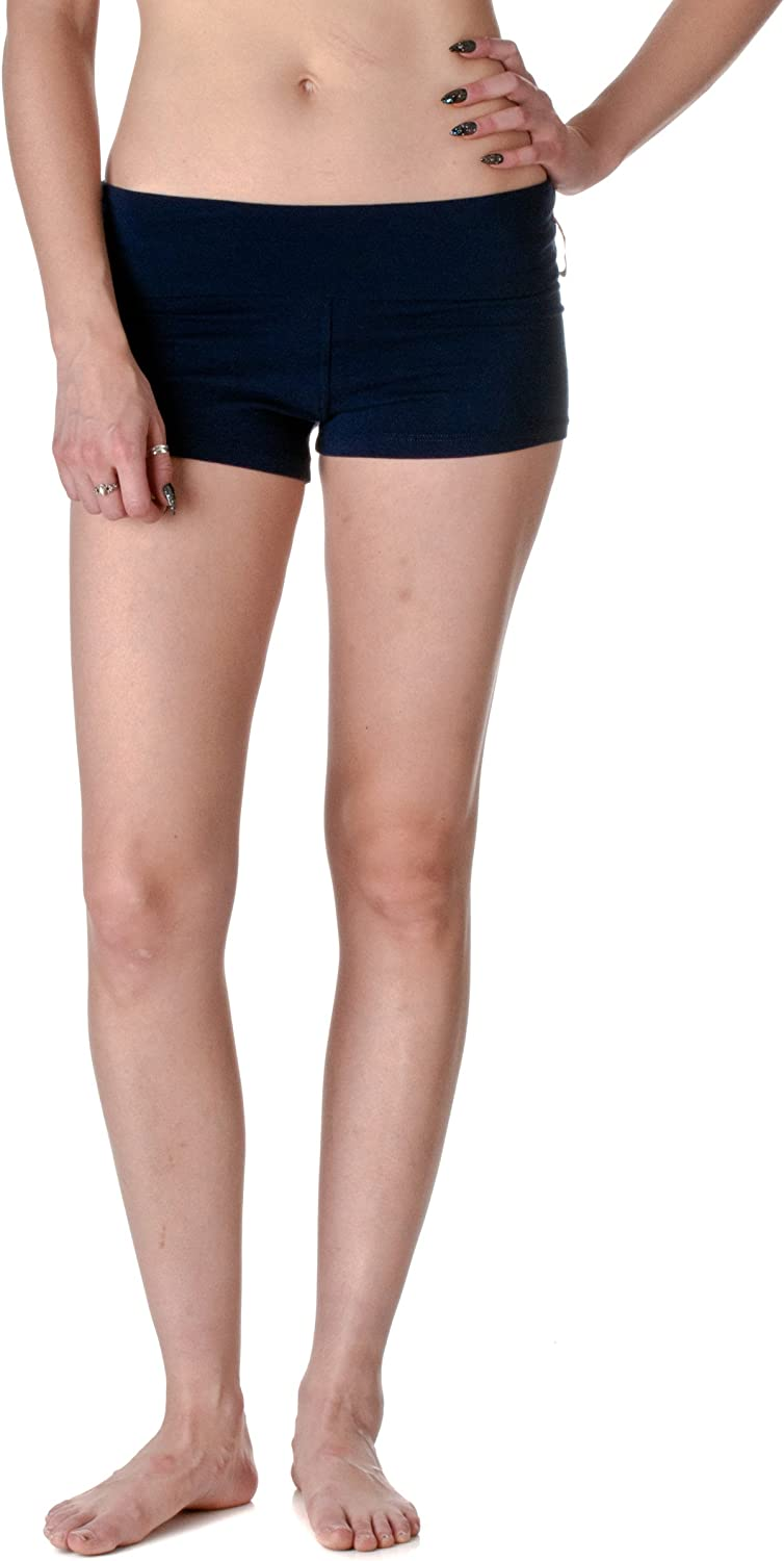 Active Basic Dance or Yoga Fold Down Hot Shorts Lots of Colors! (Small, Navy)