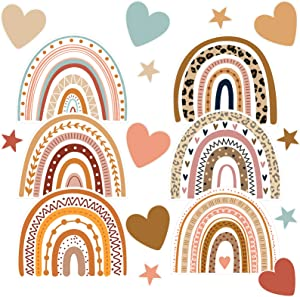 Boho Rainbows and Hearts Cutouts, Assorted Rainbows, Beige, Brown, Coral Hearts for Crafts, Bulletin Boards, Classroom or Homeschool Decor