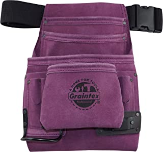 Graintex SS2032 10 Pocket Nail & Tool Pouch Purple Suede Leather