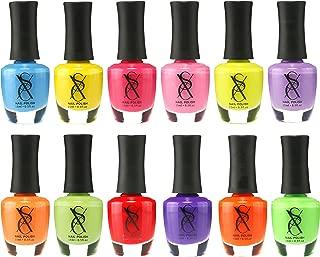 SXC Cosmetics Nail Polish Set, 12 Neon Nail Lacquer 15ml/0.5oz Full Size Nail Lacquer Gift lot