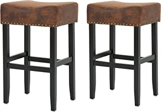 Christopher Knight Home Chantal Bonded Leather Studded Accent Bar stools (Set of 2) (Patina Brown)