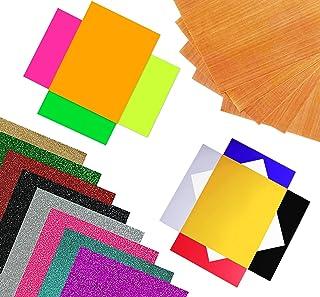 DIY Arts n Crafts 18 Heat Transfer Vinyl Sheets 10x12'' with Teflon Sheet | 6 PU, 8 Glitter & 4 Neon | Easy to Cut, Weed &...