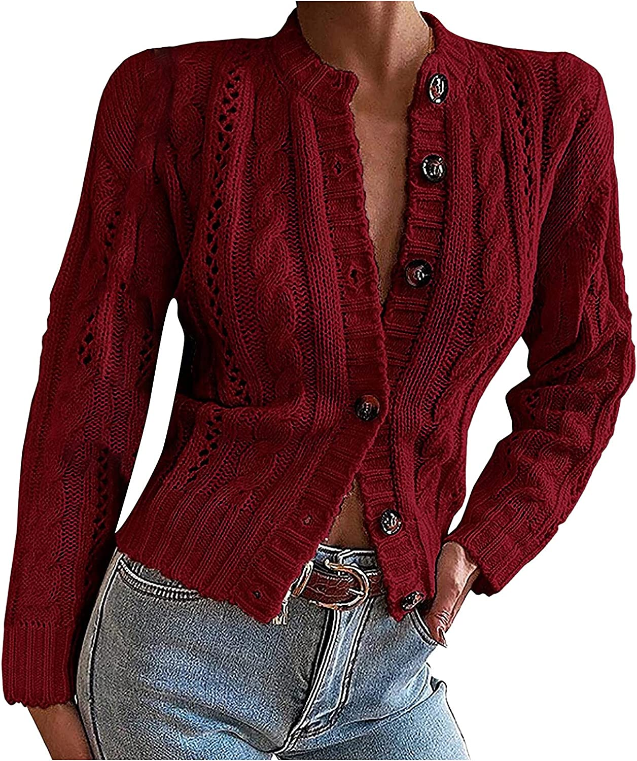 VonVonCo Fashion Cardigan Sweaters for Women Sexy V-Neck Buttons Cardigan Thick Line Sweater Blouse Coat