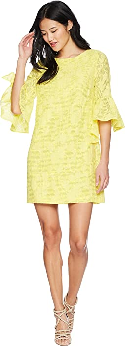 Badgley Mischka Bell Sleeve Floral Print Dress