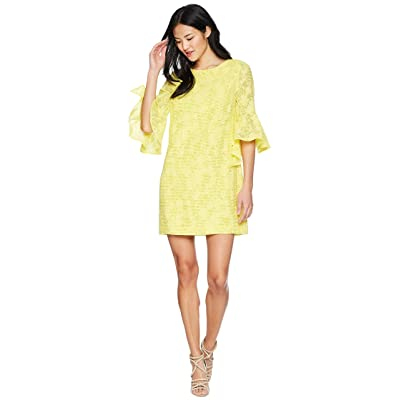 Badgley Mischka Bell Sleeve Floral Print Dress (Honeysuckle) Women