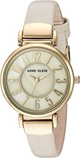 Anne Klein Women's AK/2156IMIV Strap Watch, Easy To Read Gold-Tone and Ivory Leather