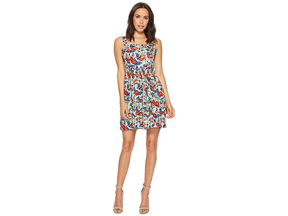 ROMEO & JULIET COUTURE Floral Printed Fit and Flare Dress (Turquoise) Women