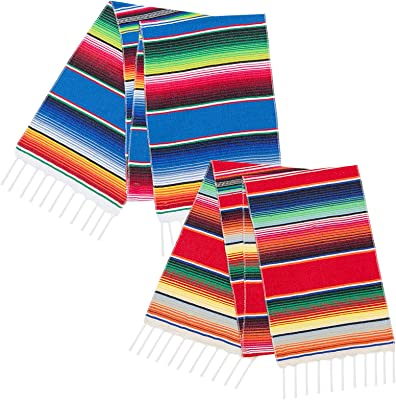 ANPHSIN 2 Pack Mexican Serape Table Runners- 14 × 84 Inches Colorful Cinco De Mayo Table Runners with Fringe for Mexican Party Cinco de Mayo Fiesta Carnival Wedding Decorations Outdoor Picnics