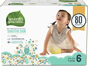 Seventh Generation Baby Diapers for Sensitive Skin, Animal Prints, Size 6, 80 Count (Packaging May Vary)