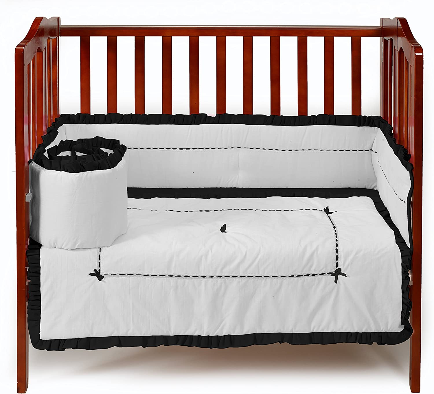 Baby Doll Bedding Unique Mini Crib PortaCrib Bedding Set, Black