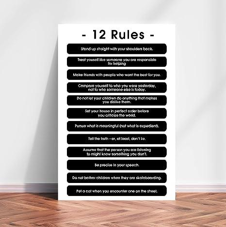 mero deficiencia puerta  Amazon.com: 12 Reglas para la vida, 12 Principios de Jordan Peterson Wall  Art Art: Everything Else