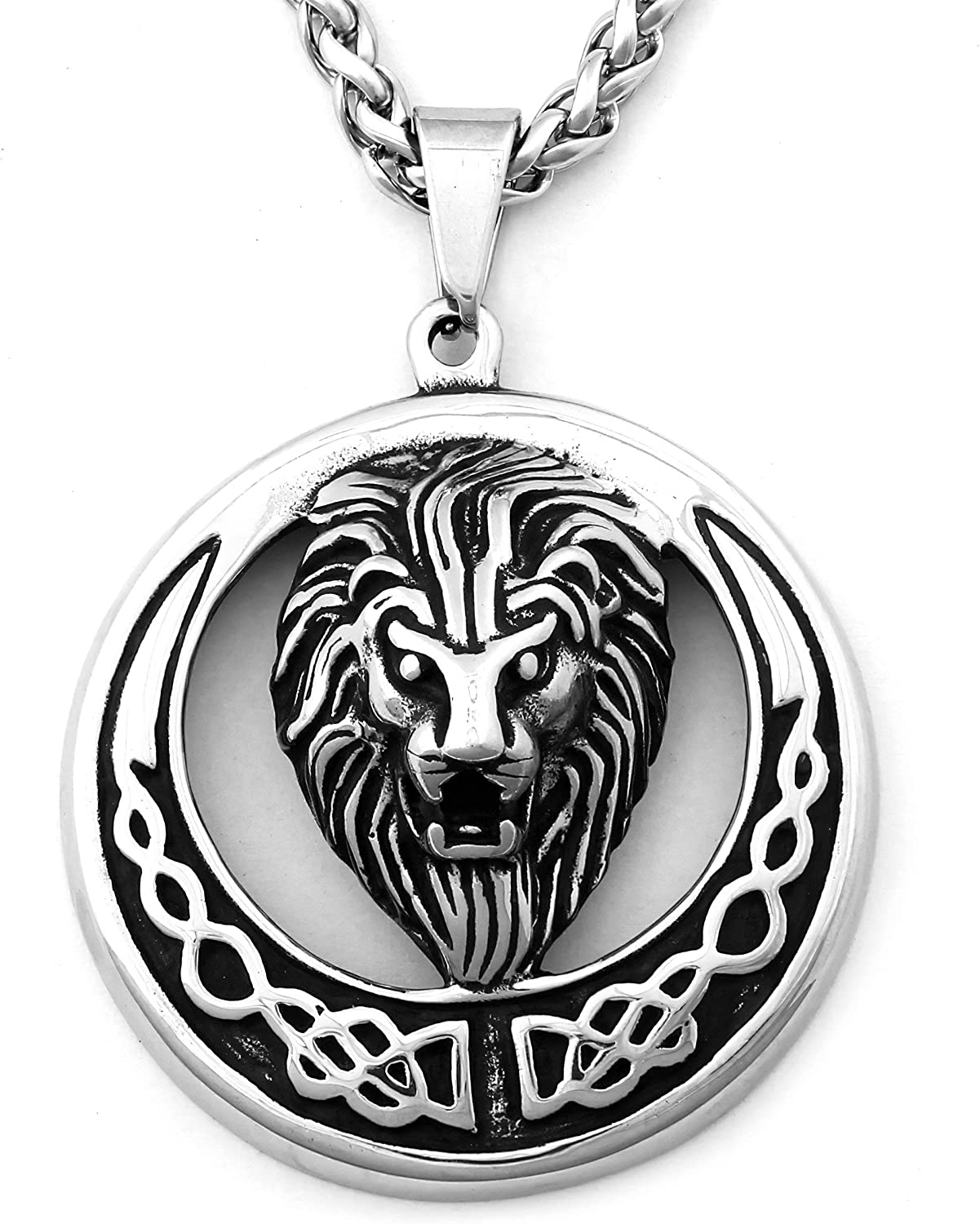 Warvik Crown Head Lion King Pendant Necklace Hip Hop Fashion Style, Stainless Steel Jewelry Mens Womens Wheat Chain 20/28inch