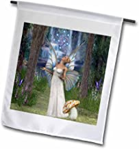 3dRose fl_167132_1 Beautiful White Fairy, In Mushroom Forest Blessing with Fairy Dust Garden Flag, 12 by 18-Inch