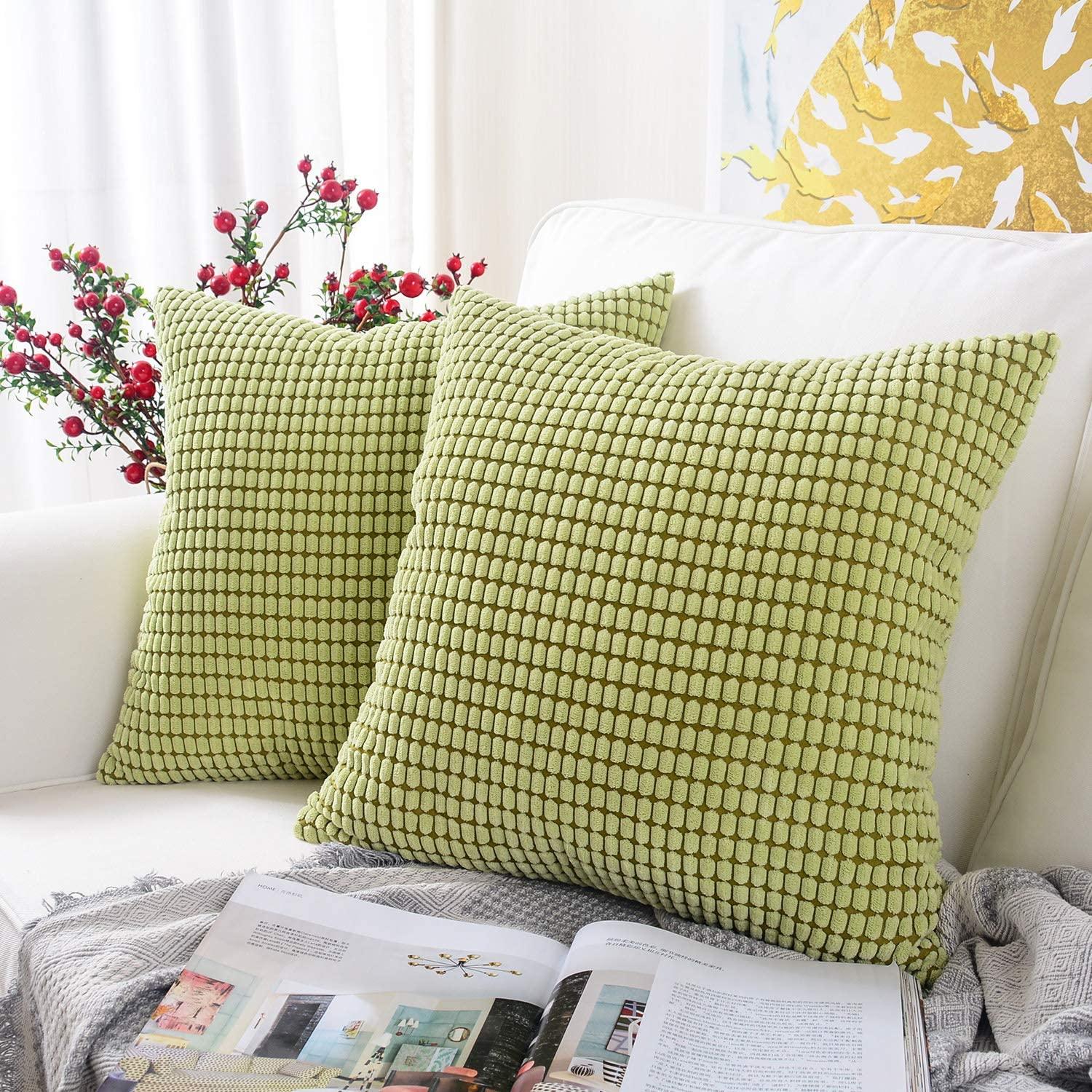 MERNETTE New Year/Christmas Decorations Corduroy Soft Decorative Square Throw Pillow Cover Cushion Covers Pillowcase, Home Decor for Party/Xmas 20x20 Inch/50x50 cm, Bean Green, Set of 2