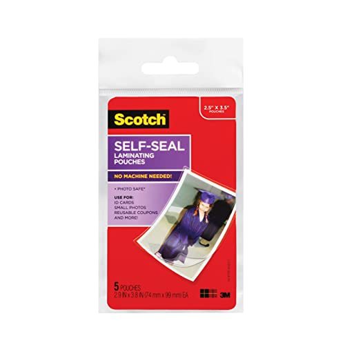 Scotch Self-Sealing Laminating Pouches, Gloss Finish, 2.5 Inches x 3.5 Inches, 5 Pouches (PL903G)