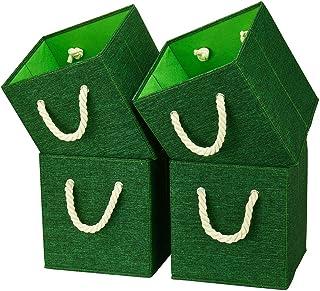 i BKGOO Lot de 4 bacs cubiques de rangement pliables Organisateur de boîte en tissu en lin vert avec poignée en corde de c...