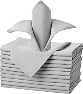 VEEYOO Cloth Napkins Set of 12 Pieces Solid Polyester Napkins Soft Fabric Washable and Reusable Dinner Napkin for Banquet Wedding Restaurant (Silver, 17x17 inch)