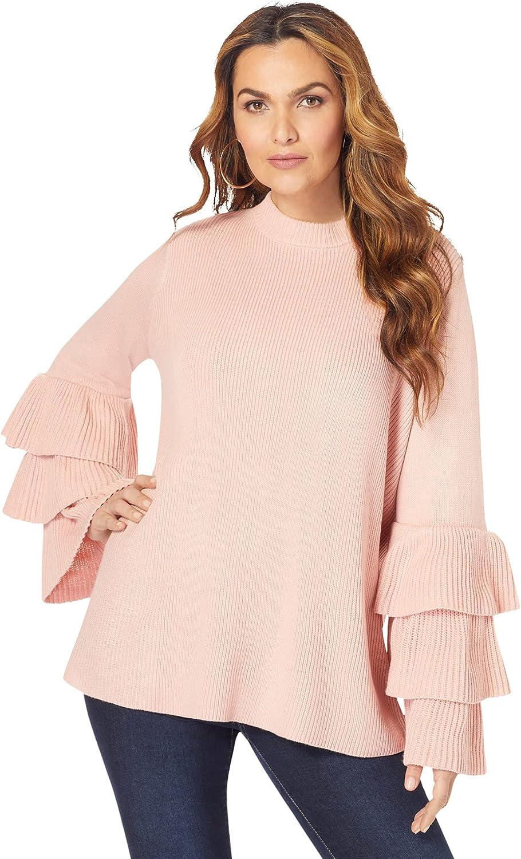 Roamans Women's Plus Size Tiered-Sleeve Sweater