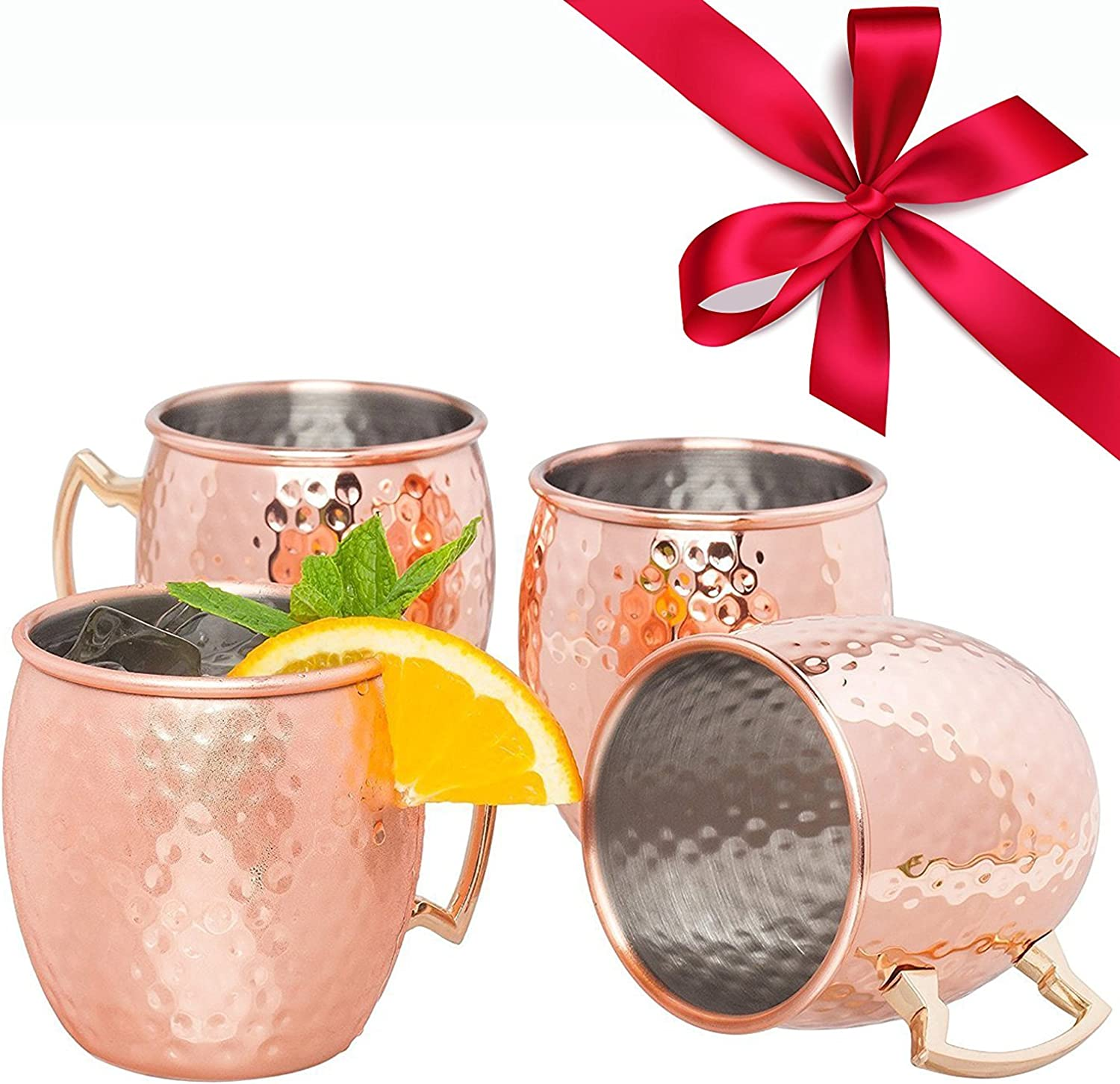 Moscow Mule Copper Mugs Set of 4 – 18oz Hand Hammered Moscow Mule Mugs with Stainless Steel Lining, Drinking Mug Moscow Mule Gift Set and Cocktail Recipes eBook