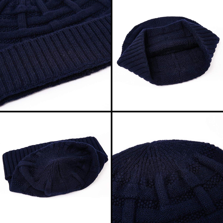 RIONA Mens 100/% Australian Merino Wool Knit Beanie Hat Winter Warm Skull Caps Headwear