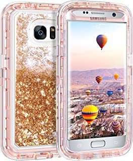 Coolden Case for Galaxy S7 Edge Case Protective Glitter Case for Women Girls Cute Bling Sparkle 3D Quicksand Heavy Duty Hard Shell Shockproof TPU Case for Samsung Galaxy S7 Edge, Light Coffee