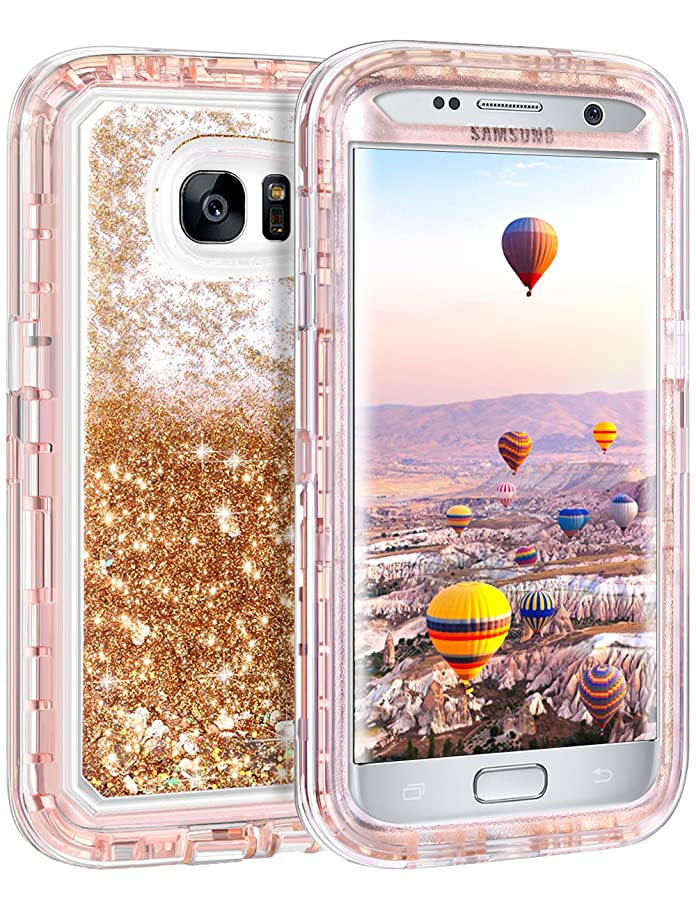 Coolden Case for Galaxy S7 Edge Case Protective Glitter Case for Women Girls Cute Floating Liquid 3D Quicksand Heavy Duty Hard Shell Shockproof TPU Case for Samsung Galaxy S7 Edge, Light Coffee