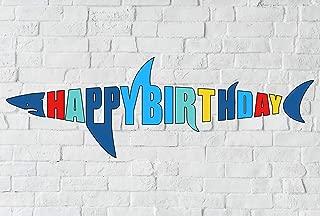 Shark Birthday Banner, Shark Shape Happy Bday Sign, Ocean Beach Under The Sea Theme Party Decoration