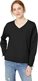 Daily Ritual Amazon Brand Women's Terry Cotton and Modal Tie Sleeve V-Neck Sweatshirt