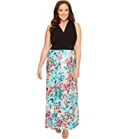 London Times - Plus Size Hydrangia Mix Halter Maxi Dress