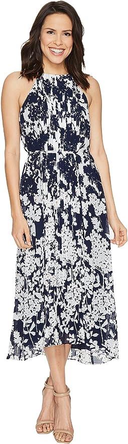 Chiffon Pleated Midi Dress