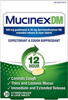 Cough Suppressant and Expectorant, Mucinex DM 12 Hr Relief Tablets, 20ct, 600 mg Guaifenesin, 30 mg Dextromethorphan HBr, ...