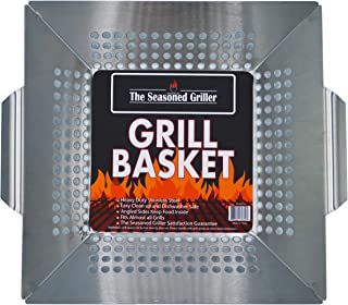 Professional Grade Stainless Steel Grill Basket, BBQ Accessories, Meats, Vegetables, Seafood, Pizza, Kabob. Fits Charcoal,...
