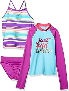 Amazon Brand - Spotted Zebra Girl's Toddler & Kids 3-Piece Swim Set with Rashguard and Tankini