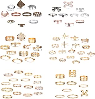LOLIAS 79Pcs Knuckle Ring Sets for Women Bohemian Retro Vintage Mid Stackable Rings Crystal Joint Stacking Finger Rings