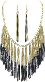 Cascading Chain Tassel Fringe Necklace & Earrings Set