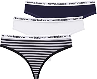 New Balance Women's Premium Performance Thong with Logo Printed Elastic Waistband (3 or 6 Pack)