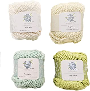 Knitting Yarn, Crochet Yarn, Mindfulness and Relaxation 100 Percent Cotton Yarn, Zen Colors, Multicolor 4-PACK Medium Number 4 Worsted Bundle, Zen Colors,Soft & Gentle for Baby items – By mindfulknits