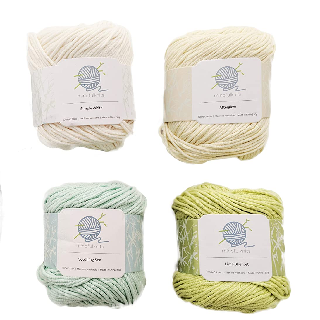 Knitting Yarn, Crochet Yarn, Mindfulness and Relaxation 100 Percent Cotton Yarn, Multicolor 4-Pack Medium Number 4 Worsted Bundle, Soft & Gentle for Baby Items – by mindfulknits