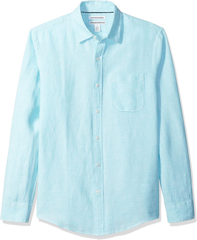 Amazon Essentials Herren button down shirts Slim fit Long sleeve Linen Shirt