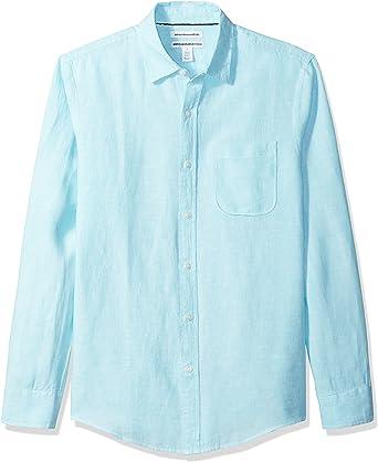 Amazon Essentials - Camisa de lino con manga larga, corte ...