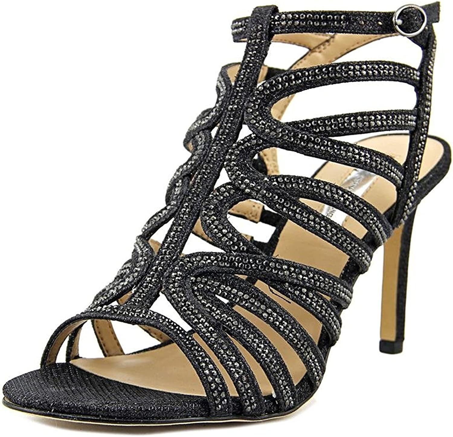 INC International Concepts Womens Gawdie Open Toe Bridal, Black, Size 10.0
