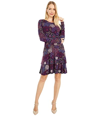 MICHAEL Michael Kors Mega Patchwork Medallion Flounce Dress (Azalea) Women