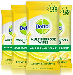 Dettol Multi Purpose Antibacterial Disinfectant Surface Cleaning Wipes Lemon Lime Bundle Count of 120 Wipes, 4 Pack