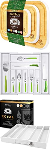 wholesale Rounded Cutting Board Set of wholesale 3 (White) and Silverware Drawer Organizer (White) and Expandable Utensil Drawer Organizer wholesale (White) outlet online sale